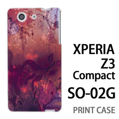 XPERIA Z3 Compact SO-02G 用『0116 水底 赤』特殊印刷ケース【 xperia z3 compact so-02g so02g SO02G xperiaz3 エクスペリア エクスペリアz3 コンパクト docomo ケース プリント カバー スマホケース スマホカバー】の画像