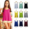 Buy2Free shipping!BABY DOLL DRESS FLARED BOTTOM BLOUSE SLEEVELESS LOOSE FIT TOP COTTON BROAD U TEE