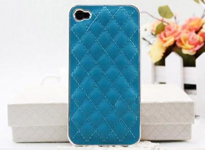 大人気 レザーiphone4/4Sケース ブルー/シルバーの画像