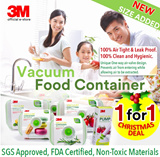 [Official E-Store] 3M Food Storage Vacuum Container and Pump - Leak-proof / Hygienic / Non-Toxic / Safe for Kids