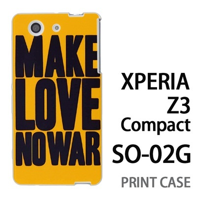 XPERIA Z3 Compact SO-02G 用『0116 メイクラブ・ノーウォー 黄×黒』特殊印刷ケース【 xperia z3 compact so-02g so02g SO02G xperiaz3 エクスペリア エクスペリアz3 コンパクト docomo ケース プリント カバー スマホケース スマホカバー】の画像