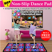 Non-Slip Dance Pad + Stepmania Complete Dance Game for PC / USB PS1/2 Compatible / Anti Slip Dance Mat / Indoor Activity / Slimming / Yoga / Beauty / Gym