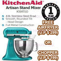 ★ FREE AIRFRYER MMAF10BK OR FOOD CHOPPER - KitchenAid KSM150 Artisan Stand Mixer ★ (1 Year Singapore Warranty)