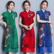 2018 autumn dress new Korean Edition big code womens medium long cotton and linen embroidery dress