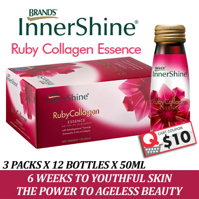COMBINE $8+$5 OFF Coupon! (FREE DELIVERY) BRAND'S® InnerShine® RubyCollagen Drinks [3 pack x 12 bottles]