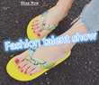 【Buy 10 FREE SHIPPING】Summer slope with female Korean muffin slip flip-flops outer wear sandals Bohemia