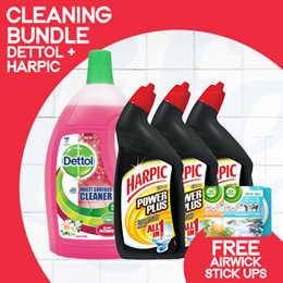[RB] Dettol® Multisurface 2.5L + Harpic® 500ml x 3 【CLEANING BUNDLE!】FREE Gifts