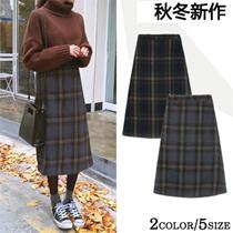 クーポン適用可能❤1080円✨2color5size✩✮暖かい✩チェックウールスカート ウエストゴムも入っていて楽ちん♡ウールスカート・チェックスカート