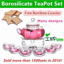 ★IMP HOUSE★[Gift Idea][Glass TeaPot Set]Borosilicate Glass Tea Pot Set/Heat Resistant Glass Teapot