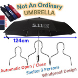 Umbrella for 3 person(family) use! No more wet on your shoulder! Ideal for rainy day and sunny day! UV protection up to UPF40 / ONE BUTTON to open and close the umbrella.
