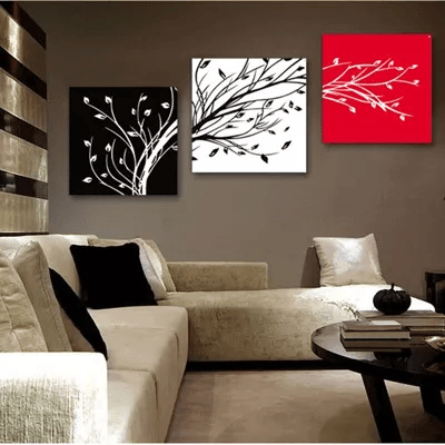 ?Finished product?Simple Branches Style Triptych Frameless Painting?Home Decoration Paint?Wall Art Deals for only S$98 instead of S$0