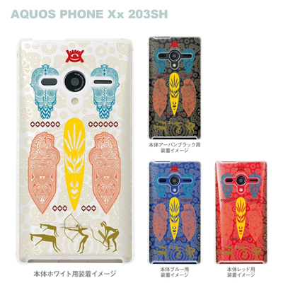 【AQUOS PHONEケース】【203SH】【Soft Bank】【カバー】【スマホケース】【クリアケース】【アフリカンヒーリング】【その他】 09-203sh-af0014の画像