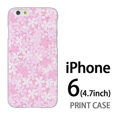 iPhone6 (4.7インチ) 用『0311 桜模様 ピンク』特殊印刷ケース【 iphone6 iphone アイフォン アイフォン6 au docomo softbank Apple ケース プリント カバー スマホケース スマホカバー 】の画像