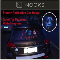 [CRAZY SALE]NEW!★Freaky Reflective Car Decal★Deter High-Beamers with Scary Reflective Decal!