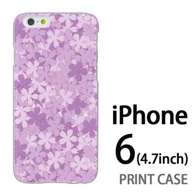 iPhone6 (4.7インチ) 用『0311 桜模様 紫』特殊印刷ケース【 iphone6 iphone アイフォン アイフォン6 au docomo softbank Apple ケース プリント カバー スマホケース スマホカバー 】の画像