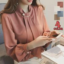 【時間限定★送料無料】♥♥品質重視♥♥2017年春に新しい韓国のファッションカジュアルシャツの襟の気質のレースステッチレースのトランペット袖