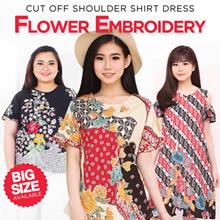 Floral Batik - Flower Embroidery-Cut Off Shoulder Shirt Embroidered Jacket-Tunic Dress