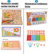 Montessori wooden learning clock with colorful learning sticks and wooden numbers/ Mathematical Intelligence Sticks