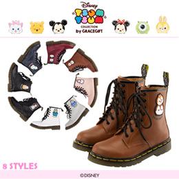 ♥New Arrival♥Gracegift-Disney TsumTsum Lace Up Leather Boots/Women Shoes