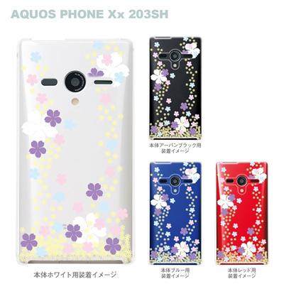 【AQUOS PHONEケース】【203SH】【Soft Bank】【カバー】【スマホケース】【クリアケース】【桜】 09-203sh-flo0003の画像