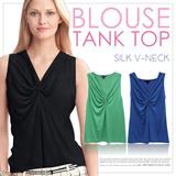BRANDED Blouse Tank Top SILK V-NECK_3 Basic Color_High Quality_Comfortable Material_Casual Look / Top / Tank Top / Pakaian Wanita / Busana Wanita / Dress / Blouse