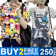 BUY 2 FREE SHIPPING ! Girls T-shirts Dress Cartoon Short Sleeve  Casual Loose Blouse/Plus Size 200 Style Optional Cute Lovely Stylish【M18】