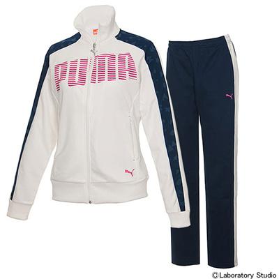 プーマ (PUMA) レディース トレーニングジャケット&パンツ 上下セット(ウイスパーホワイト×ピーコート) 903667-02-903668-02 [分類:ジャージ 上下セット (レディース)] 送料無料の画像