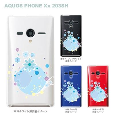 【AQUOS PHONEケース】【203SH】【Soft Bank】【カバー】【スマホケース】【クリアケース】【アクアフラワー】 09-203sh-flo0007の画像