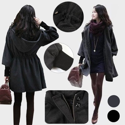 秋と冬服新しい韓国のヤードウールのコートのフード付きのジャケットと長いセクションスリムウールのコートのジャケットの女性の画像