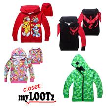 [Sep] Cartoon Light Jacket Kid/Boy/Girl/Child Minecraft/Pony/Frozen/Shopkin/Pokemon/NinjaGo/Moana