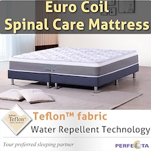 Euro Coil Spinal Care Mattress * with Teflon fabric * Water Repellent Technology *