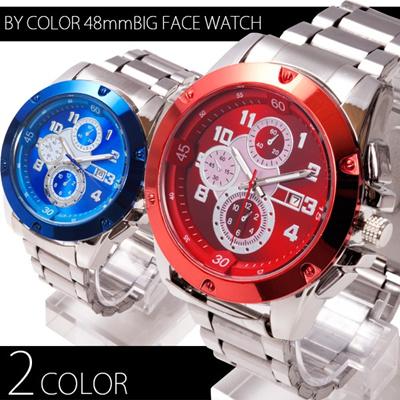カレンダー機能付き バイカラー 48mmビッグフェイス腕時計 全2色の画像