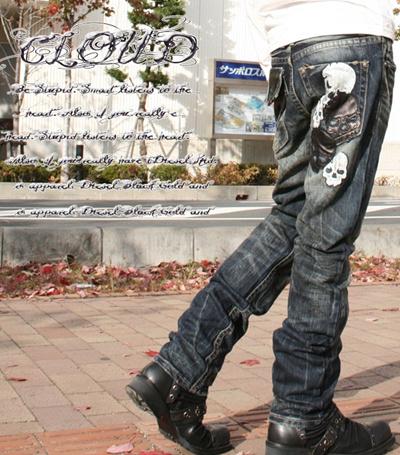 【ジーンズ専門店 クラシカルエルフ】◆CLOUD72【クラウドNEW514】br髑髏(ドクロ、スカル)&レザー(革) ヴィンテージ加工 ジーパン メンズ ジーンズ ストレート デニム ジーンズ レディの画像