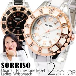 【メール便送料無料】 SORRISO ソリッソ 時計 腕時計 レディース かわいい ラインストーンベゼル レディース腕時計 SRHI12 (spj-WT-SRHI12m) 女性用 プレゼント ギフト ホワイト ピンクゴールド アクセサリー アンティーク