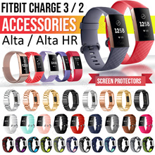 Fitbit Charge 3 2 alta hr strap watch band straps Stainless Steel Bracelet Milanese silicone