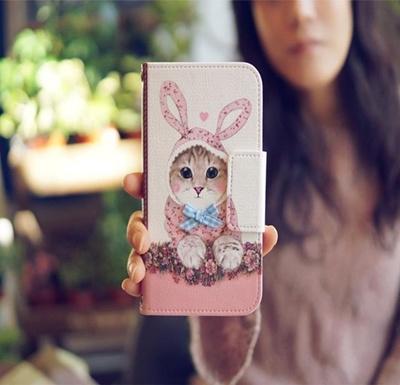 GALAXY S3 SC-06D/SC-03E ケース/GALAXY S3 Disney キャラクターケース/ ドコモ スマートフォン カバーGALAXYS3/ docomo ギャラクシーs3 /Mr.H The Kitty Wanna be a rabbit Diary( うさぎダイアリー)の画像
