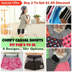 [Big Sales + Freebie] Women Short Home Casual Pants/ Short Sleep Pants/ Beach Shorts/ S- XL
