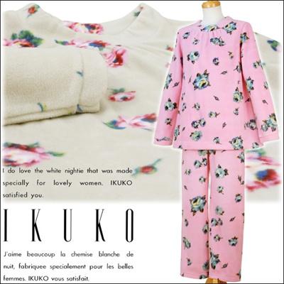 【送料無料】 イクコ IKUKO ナイティ パジャマ ルームウェア マイクロフリース 花柄プリント かぶりタイプ 長袖 UN160Pの画像