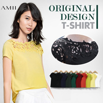 ORIGINAL DESIGN! PERSPECTIVE !  Lace T-shirt / Short Sleeve / Crew Neck / Plus Size /  Loose Breathable / Premium All Match AMII【M18】