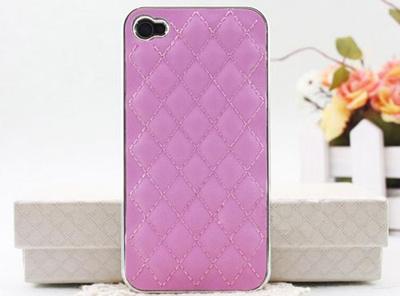 携帯 ケース iphone4s 革 大人気 レザーiphone4/4Sケース ピンク/シルバーの画像