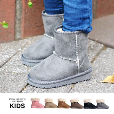 ムートンブーツ キッズ ショート インソール付き ブーツ 靴 くつ 秋 冬 ムートン 通販の画像