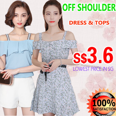 s$3.6 Off shoulder COLLECTION dress/tops summer korean fashion Ladies top/blouse chiffon cotton Deals for only S$30 instead of S$0