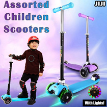 [LED Scooter WHEEL] No Battery Require * 4 in 1 Adjustable Children Kick Scooter! * Safe fun * Stable *3 Heights Adjust* Safety Durable Mechanism * Double Back Wheel Brakes * Kids *