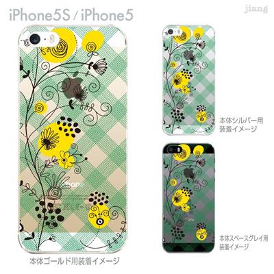 【iPhone5S】【iPhone5】【Vuodenaika】【iPhone5ケース】【iPhone ケース】【クリア カバー】【スマホケース】【クリアケース】【ハードケース】【着せ替え】【フラワー】【チェックと花】 21-ip5s-ne0059の画像