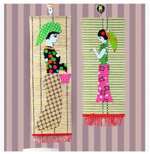 /套幼儿园竹饰品手工制作的帆布拼贴的少数民族