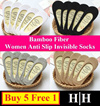 ★SALE★BUY 5 FREE 1★WOMEN/MEN SOCKS★Bamboo Fiber Anti Slip Invisible Socks / Anti Slip Boat Socks / Fast Delivery