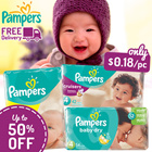 [PnG]【UP TO 50% OFF!】 Pampers Baby Dry Easy Ups Swaddlers Cruisers - World No.1 Diapers! Free and Speedy Delivery! Lowest Price in SG! Maternity Kids.