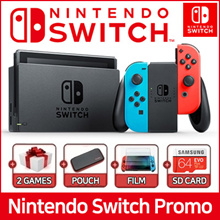 Nintendo Switch Promotion ★ Console + 2 Games + Pouch + Film + Micro SD 64GB ★ 1 Year Warranty ★