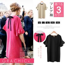 フレア袖 Tシャツ バックリボン 無地 3カラー 体型カバー ミニワンピース 可愛いデザイン