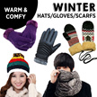 WINTER HATS AND GLOVES FOR LADIES MEN AND KIDS/ SMART TOUCH SCREEN SENSITIVE THERMAL GLOVES/